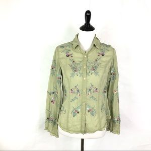 J Jill Embroidered Sheer Button Blouse